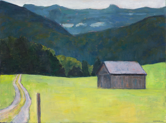 Stadel, Weg und Berge, 2019, 60x80 cm, Öl auf Leinwand