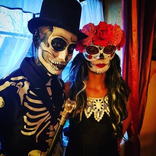 Maquillage squelette et dias de los muertos