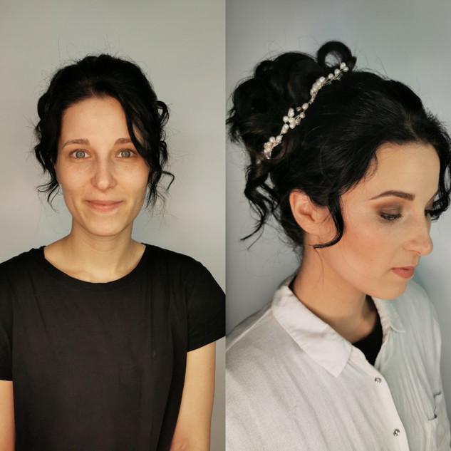 Avant/après maquillage mariée