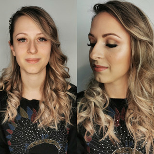 Avant/après maquillage glowy