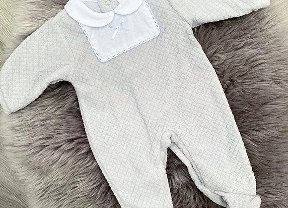 Grey Velour Babygrow