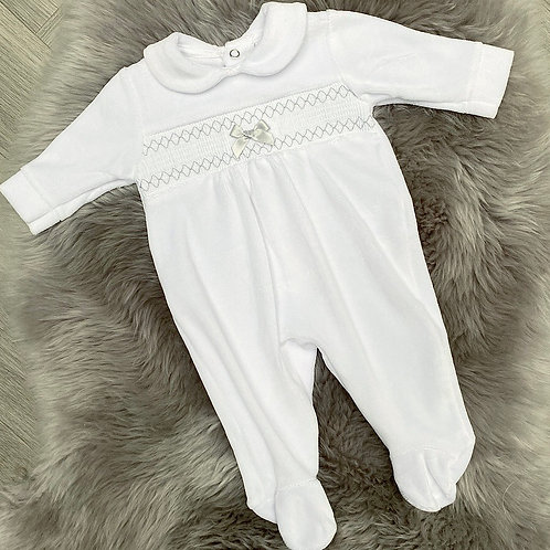 Silver Stitching Velour Baby Grow