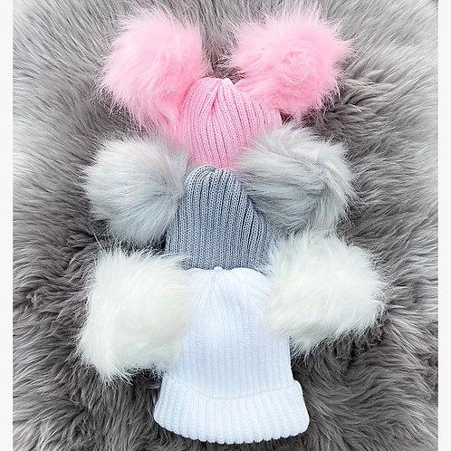Faux Fur Double PomPom Hat