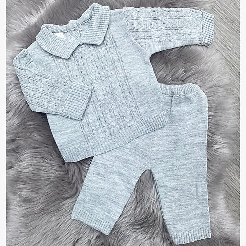 Mylo Grey Cable Knit Set
