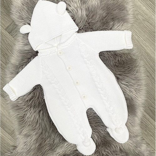 White Teddy Thick Knit Pram Suit