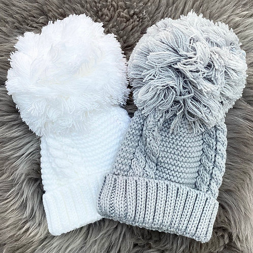 Grey & White Hats Fit 0-6months