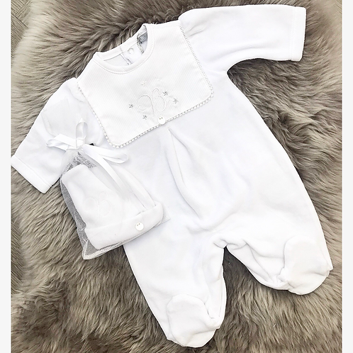 Velour Romper with matching hat