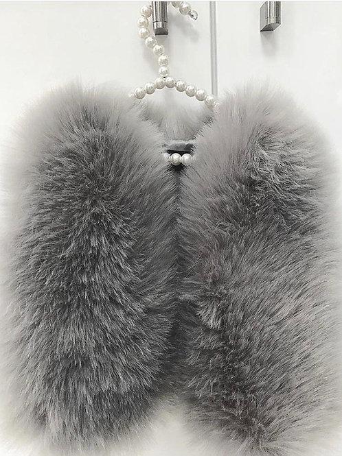 Grey Faux Fur Gilet