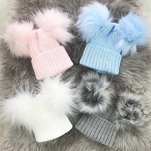 Double Faux Fur PomPom Hats