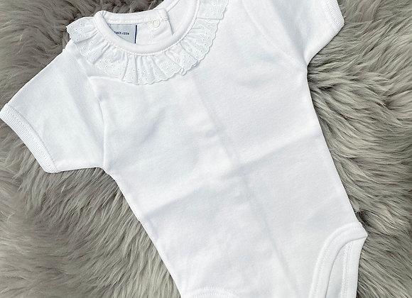 White Short Babidu Frilly Babygrow