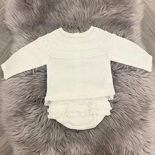 Frilly Ivory Knit Set