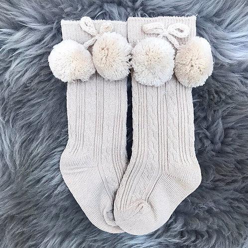 Limited Edition Beige PomPom Socks