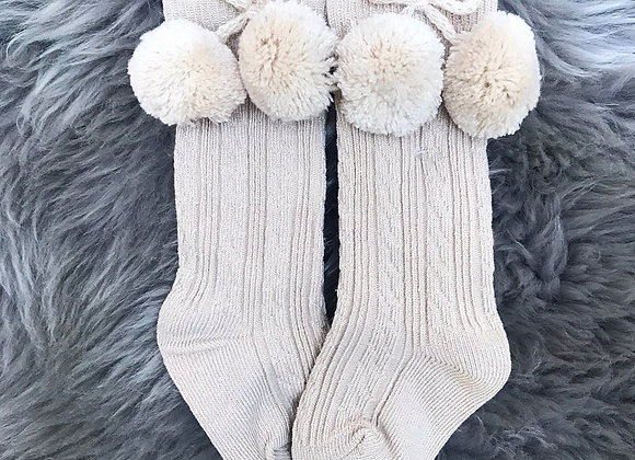 Limited Edition Beige PomPom Socks