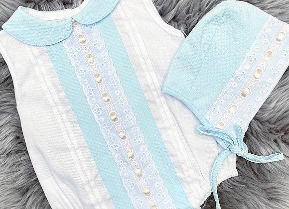 Beautiful Blue Lace Romper&Bonnet