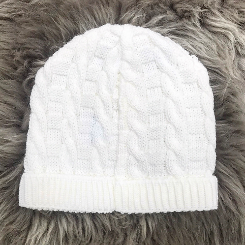 Fresh White Cable Knit Hat
