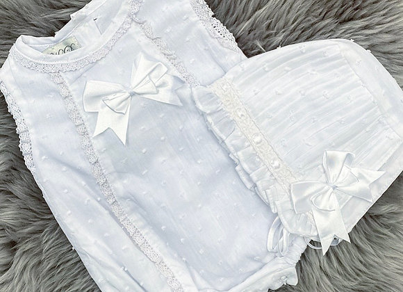 Cute White Summer Brodie Romper&Bonnet