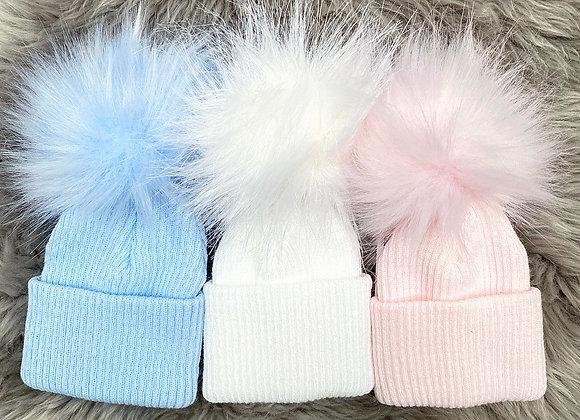 One PomPom Faux Fur Hat