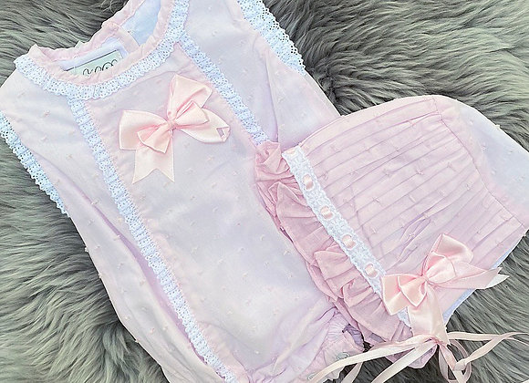 Cute Pink Summer Brodie Romper&Bonnet