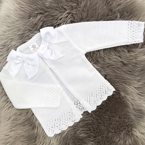 White Silk Bow Cardigan