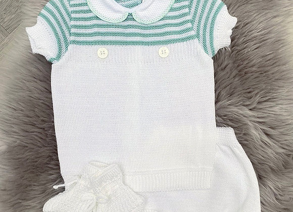 Green & White set with matching booties