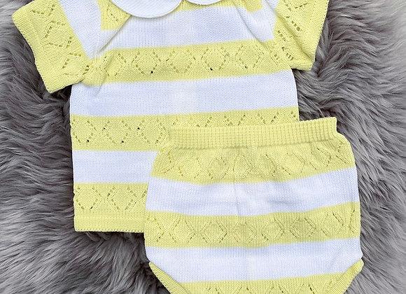 Yellow & White Stripped 2 Piece