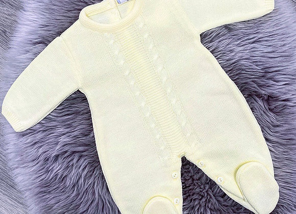 Lemon Cable Knit Babygrow