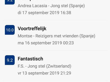 Verblijven reviews oktober 2019