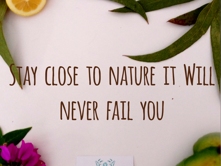 Stay close to nature it will never fail you