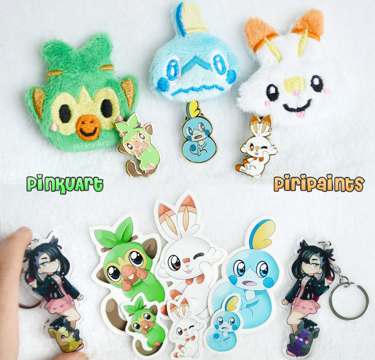 Plush clips, enamel pins & stickers, charms
