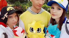 Pokemon Trainers with their legendary plushies!
