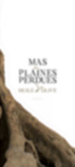 Création d'un logo pour un packaging d'huile d'olive des Mas Des Plaines Perdues. Déclinaison du logo, pastille bouteille. Réalisation de l'étiquette de la bouteille d'huile d'olive.