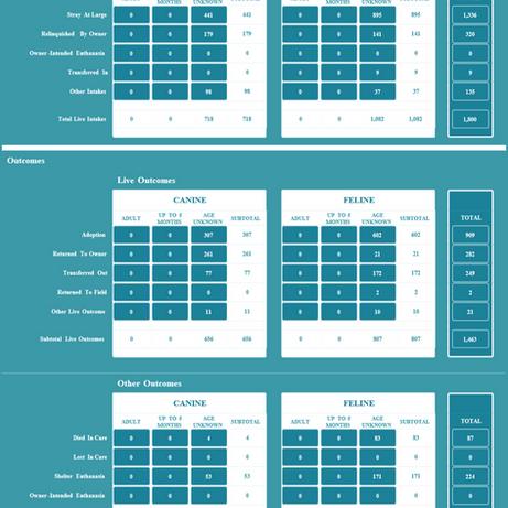 2017 Shelter Data Counts Matrix