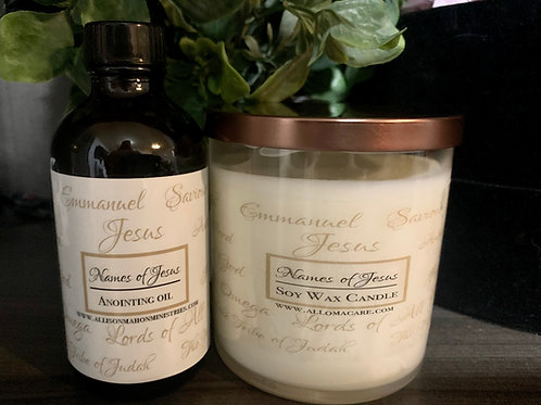 Names of Jesus Candle &Anointing Oil Set