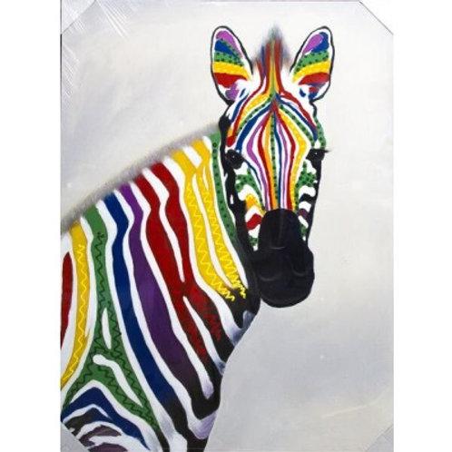 Canvas Colourful Zebra 120x90cm