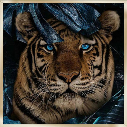 Tiger Print On Glass In Frame