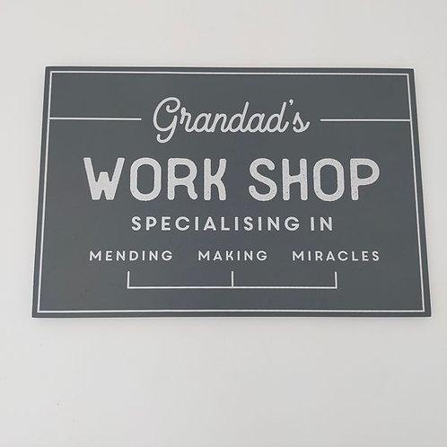 Grandad's Workshop Wooden Sign