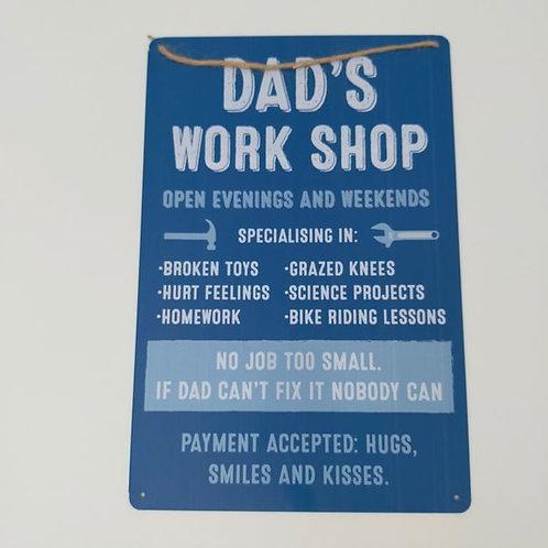 Dad's Workshop Tin Sign