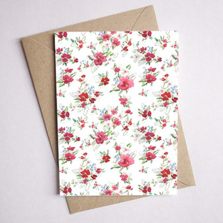 red floral card