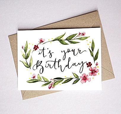 birthday flower border card