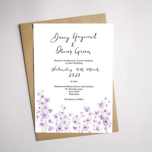 Lilac Flower Invitation