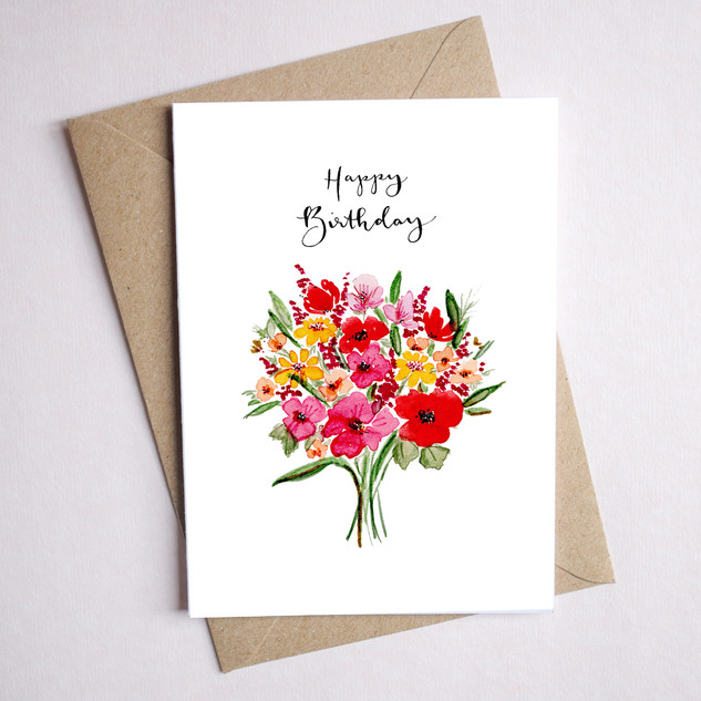 red floral birthday