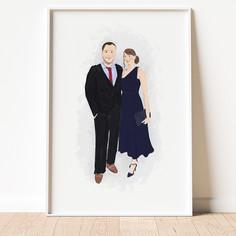 Illustrated couple portrait