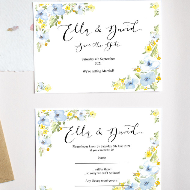 Blue and Yellow Cluster floral Save the date