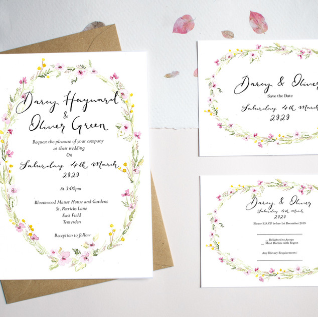 Floral oval invite