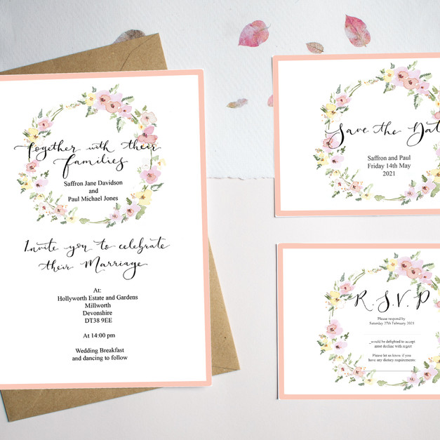 yellow and pink wedding wreath stationer