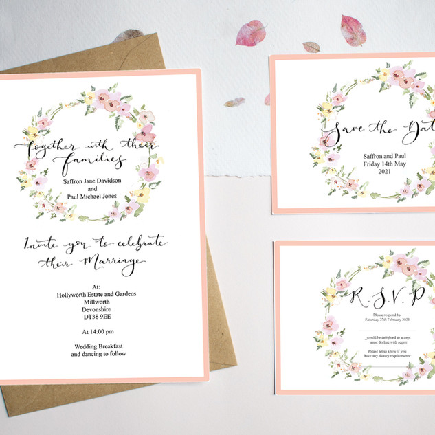 Yellow and Pink Save the date