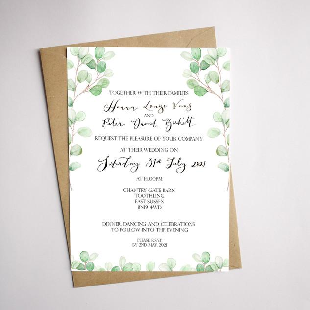 eucalyptus wedding invitation card examp