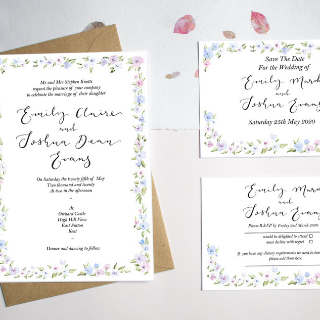 blue and pink border invite set