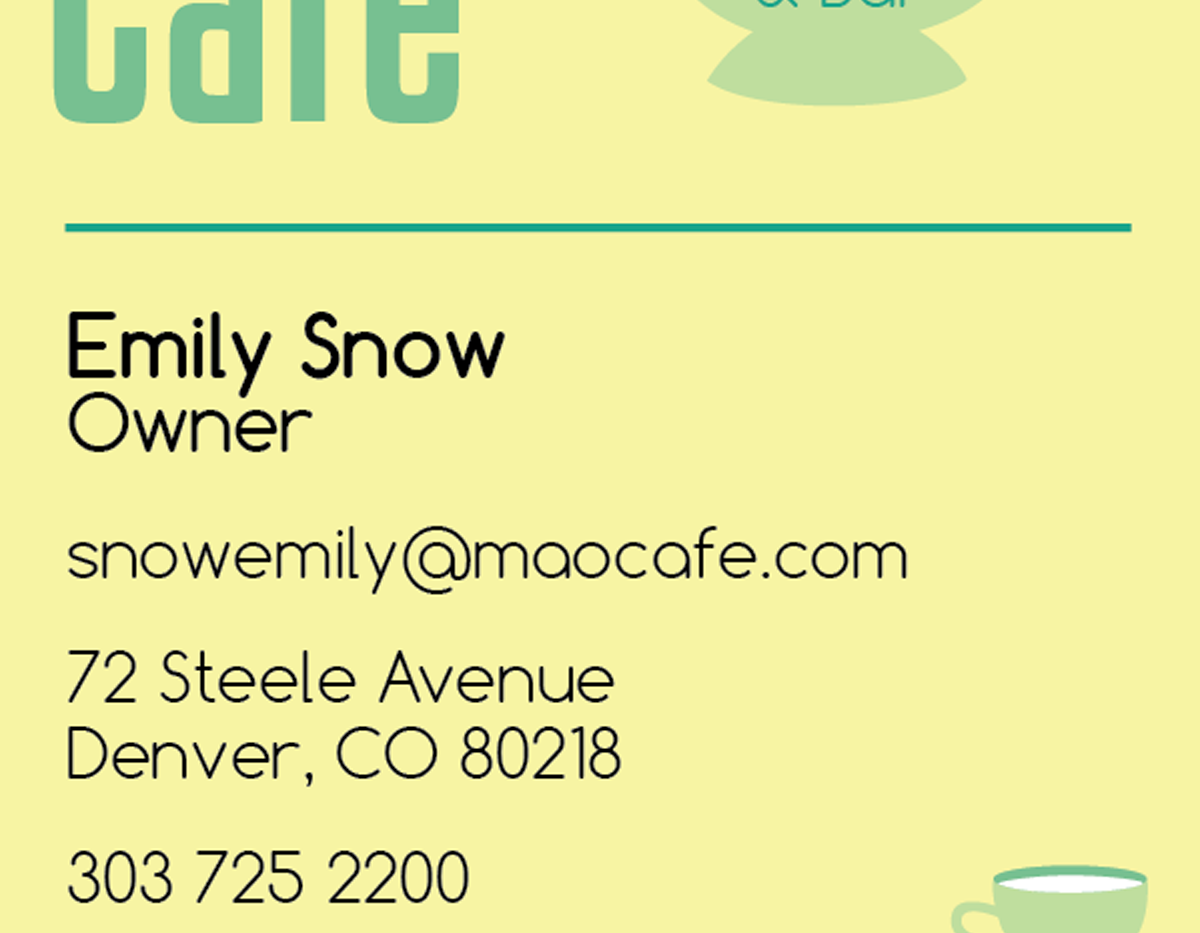 Mao Cafe   Previous Business Card Front