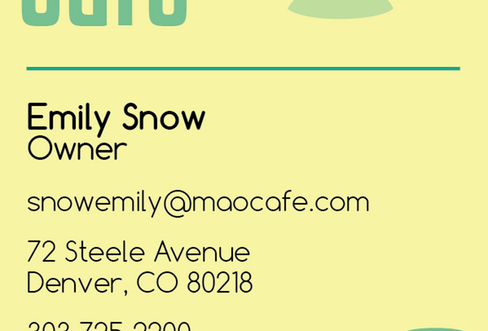 Mao Cafe | Previous Business Card Front